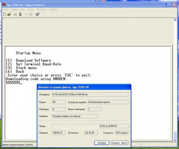 D-Link DGS-3100-48 XModem
